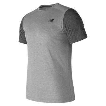 New Balance Short Sleeve Heather Tech Tee, Athletic Grey with Black Heather