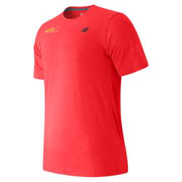 New Balance HOCR Short Sleeve Heather Tech Tee, Bright Cherry Heather