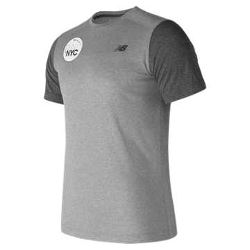 New Balance United NYC Half Finisher SS Tee, Athletic Grey with Black Heather