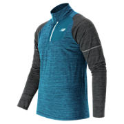 Performance Merino Half Zip, Deep Water Heather with Heather Charcoal