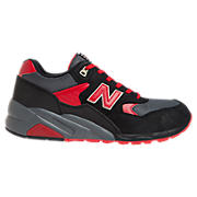 New Balance 580, Black with Red & Grey