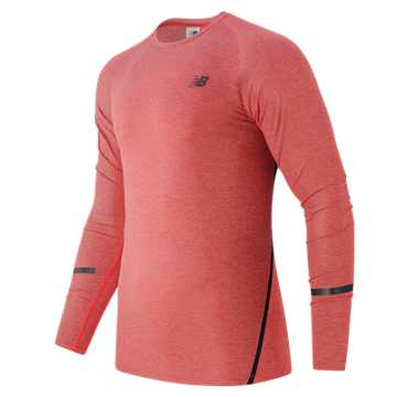 New Balance Trinamic Long Sleeve Top, Atomic Heather with Black