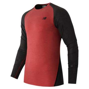New Balance Trinamic Long Sleeve Top, Chrome Red with Heather Charcoal