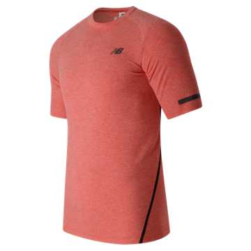 New Balance Trinamic Short Sleeve Top, Atomic Heather with Black