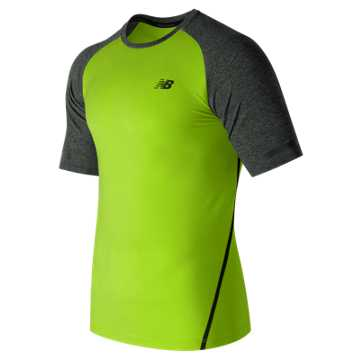 New Balance Trinamic Short Sleeve Top, Hi-Lite with Heather Charcoal