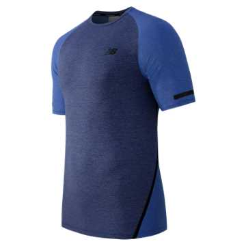 New Balance Trinamic Short Sleeve Top, Basin Heather with Pacific Heather