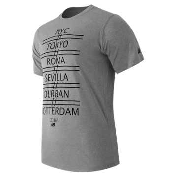 New Balance SS Graphic Heather Tech Tee, Athletic Grey print