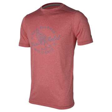 New Balance SS Graphic Heather Tech Tee, Chrome Red