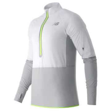 New Balance Precision Run Half Zip, White with Silver Mink & Toxic