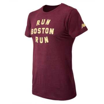 New Balance Mens Run Boston Tee, Cranberry