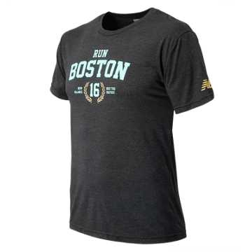 New Balance Mens Run Boston Tee, Vintage Black