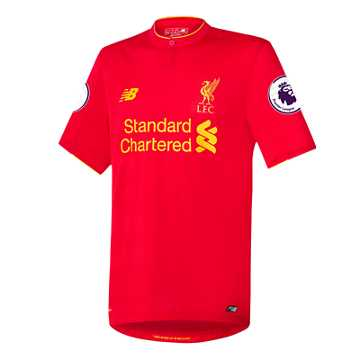 New Balance LFC Mens Henderson Home EPL Patch SS Jersey, High Risk Red