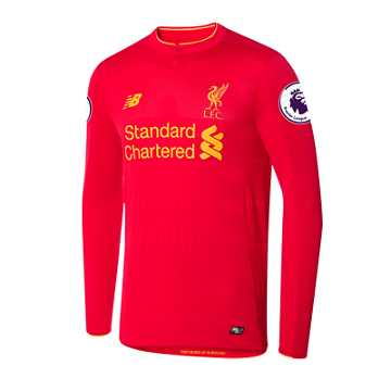 New Balance LFC Mens Firmino Home EPL Patch LS Jersey, High Risk Red