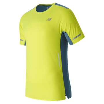 New Balance Precision Run Short Sleeve, Firefly with Riptide