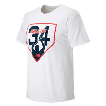 New Balance Walk Off 34 Tee, White with Red & Navy