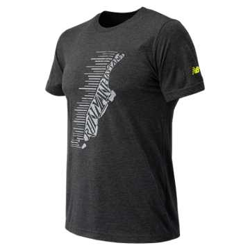 New Balance NYRR Manhattan SS Tee, Charcoal Heather