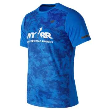 New Balance Run for Life Intensity SS Tee, Electric Blue with Atlantic