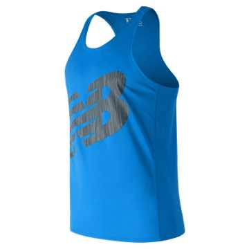 New Balance Accelerate Graphic Singlet, Electric Blue with Black