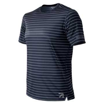 New Balance J.Crew NB Ice 2.0 Printed Short Sleeve Tee, Navy Stanley Stripe with White