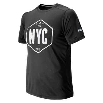 New Balance United NYC Half Sign Tee, Black Charcoal Heather