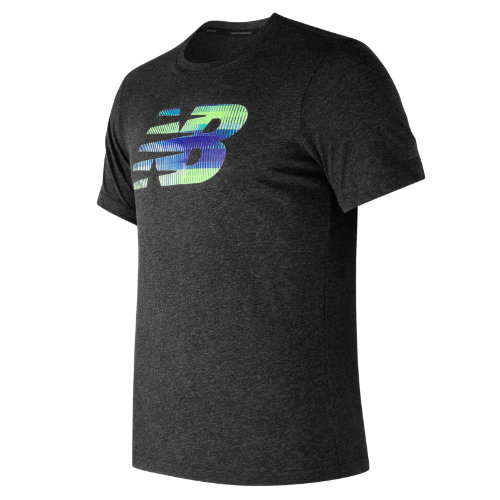 New Balance : Heather Tech NB Graphic Short Sleeve : Men's Performance : MT73082BKH