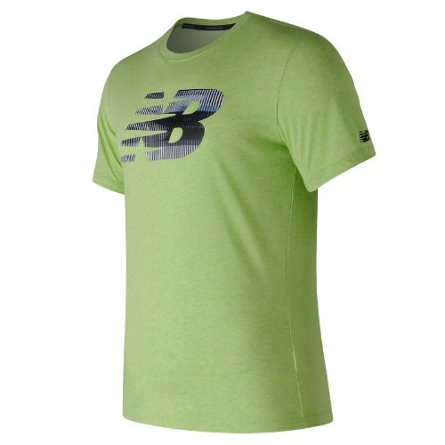 New Balance : Heather Tech NB Graphic Short Sleeve : Men's Performance : MT73082EGL