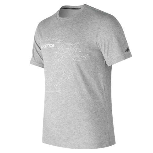 New Balance : Heather Tech Run Graphic Short Sleeve : Men's Performance : MT73083AG