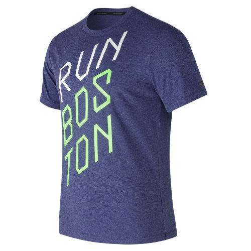 New Balance : Heather Tech Run Graphic Short Sleeve : Men's Performance : MT73083PGM