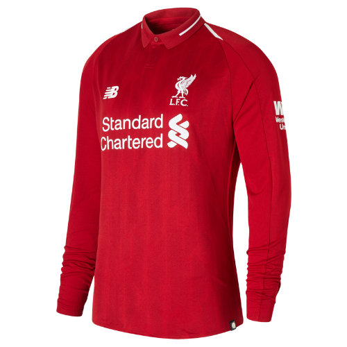 New Balance LFC Mens Salah Home Long Sleeve EPL Patch Jersey Boy's All Accessories - MT839808RDP