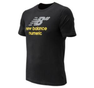 뉴발란스 New Balance Mens Numeric Stacked Short Sleeve Tee,Black