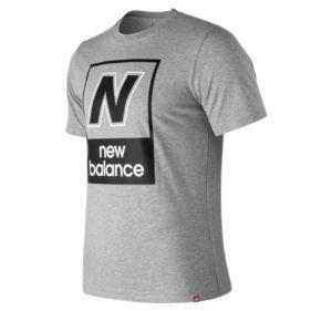 뉴발란스 New Balance Mens Essentials N Box Short Sleeve Tee,Athletic Grey