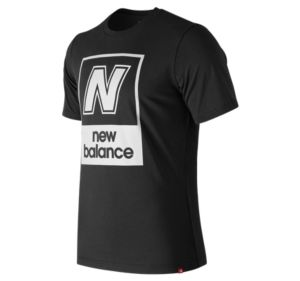 뉴발란스 New Balance Mens Essentials N Box Short Sleeve Tee,Black