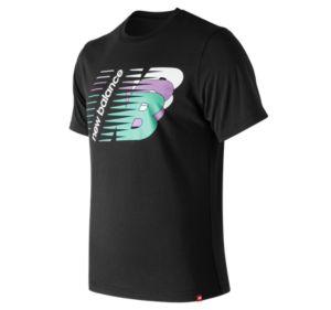 뉴발란스 New Balance Mens Essentials Three Ns Short Sleeve Tee,Black