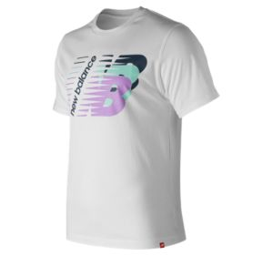 뉴발란스 New Balance Mens Essentials Three Ns Short Sleeve Tee,White