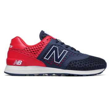 New Balance 574 Re-Engineered, Navy with Red