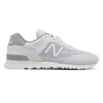 New Balance 574 Re-Engineered, White with Silver Mink