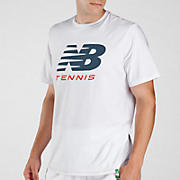 Big Brand Tennis Tee, Bright White with Bering Sea & Tangerine Tgo