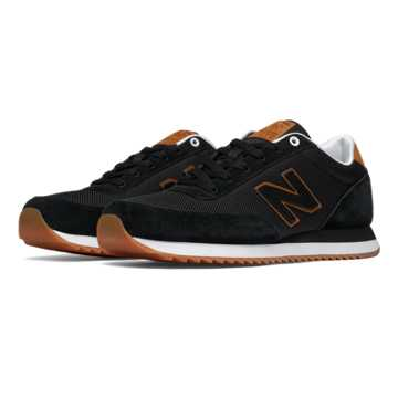 New Balance 501 Ripple Sole, Black with Tan