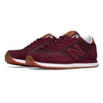 New Balance 501 Ripple Sole, Burgundy with Tan