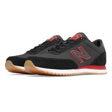 New Balance 501 Ripple Sole Textile, Black with Crimson