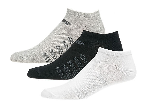No Show (3 pack), White with Grey & Black