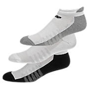 Low Cut with Heel Tab (3 pairs), White with Asphalt & Black