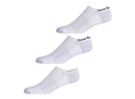Enhanced Dry No-Show (3 pack), White with Navy & Black
