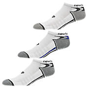 Enhanced Dry No Show (3 Pack), White with Grey & Blue