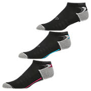 Enhanced Dry No Show (3 Pack), Black with Grey & Pink Shock