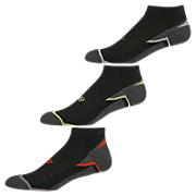 Enhanced Cool Low Cut (3 pack), Black with Orange & Lime Green