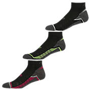 Enhanced Cool Low Cut (3 pack), Black with Lime Green & Raspberry