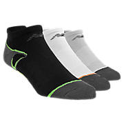 No Show with Heel Tab (3 pack), White with Black