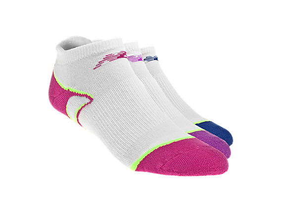 No Show with Heel Tab (3 pack), White with Pink & Purple