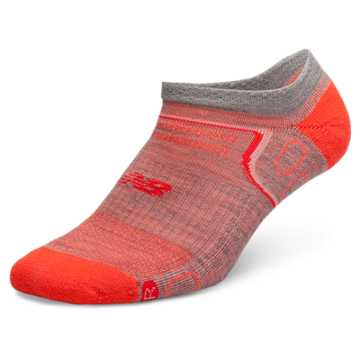New Balance NBx® Merino Wool No Show Tab 1 pair, Light Grey with Orange